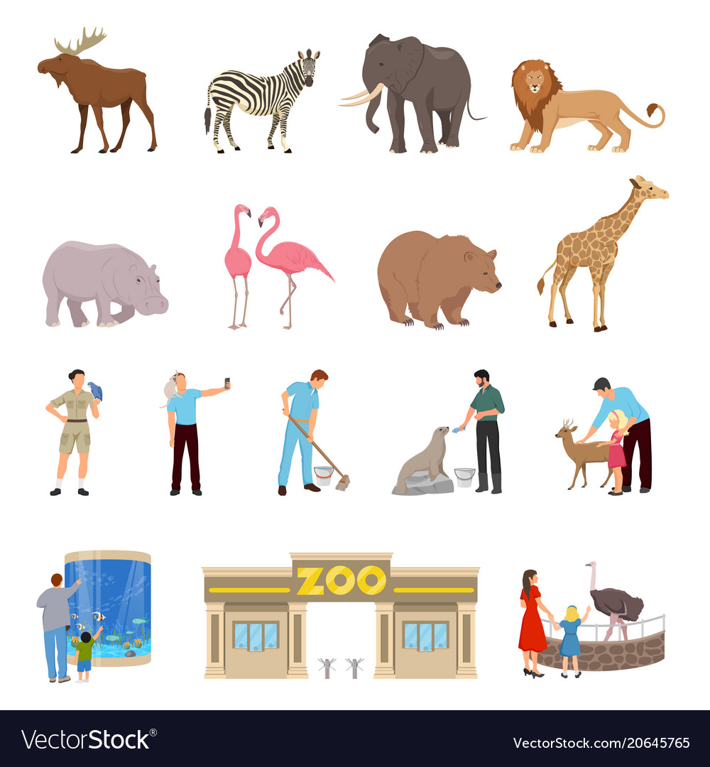 Zoo flat icons set