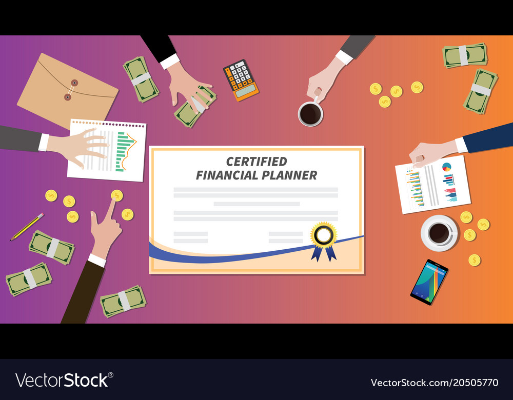 Certified financial planner certification paper Vector Image