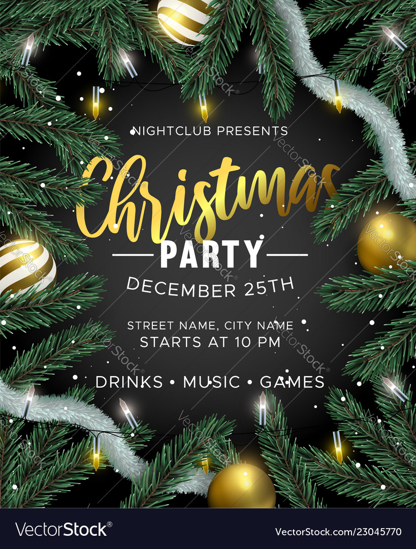 Christmas Party Invitation.Christmas Party Invitation With Gold Decoration