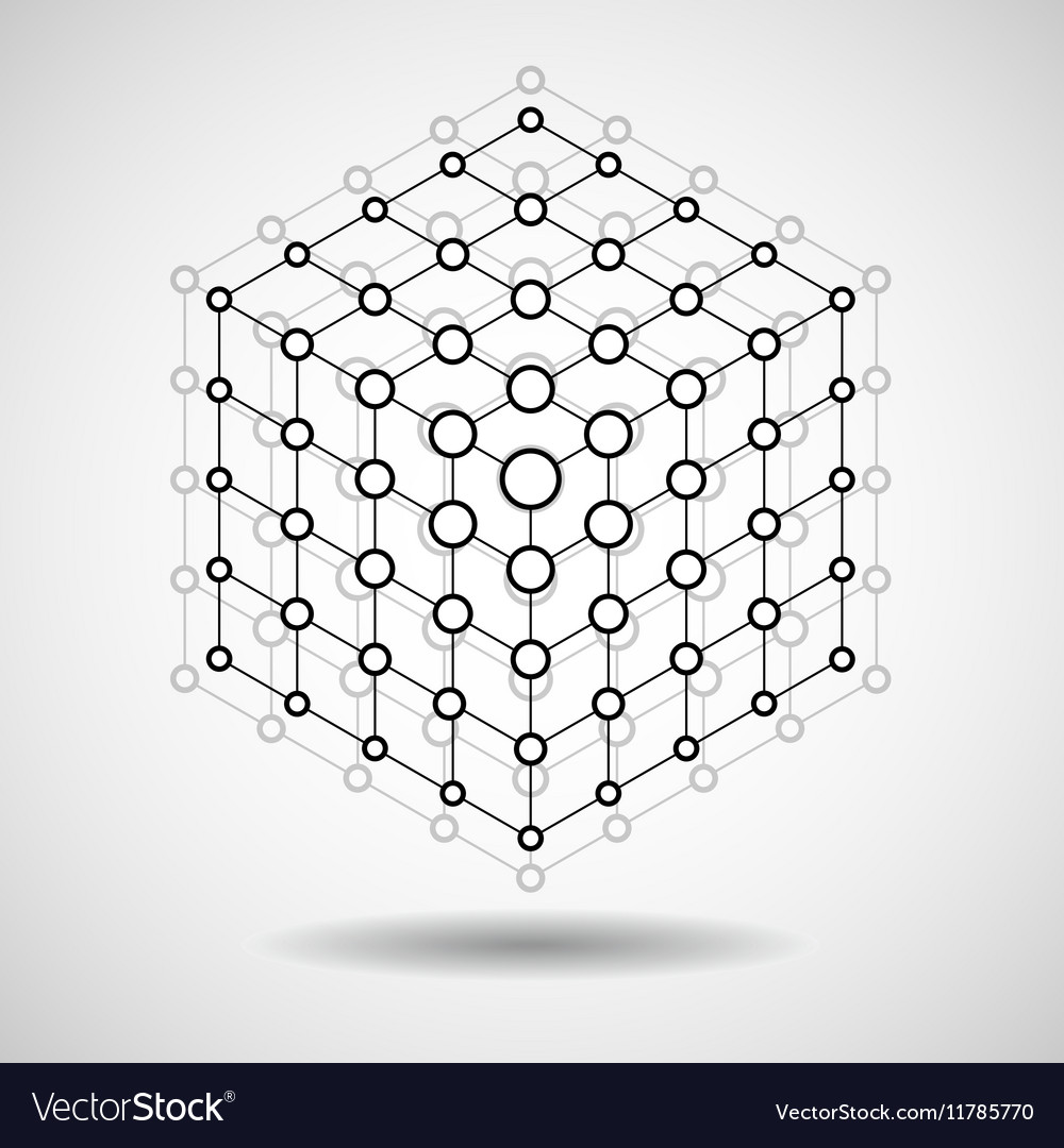 Cube of lines and dots molecular lattice