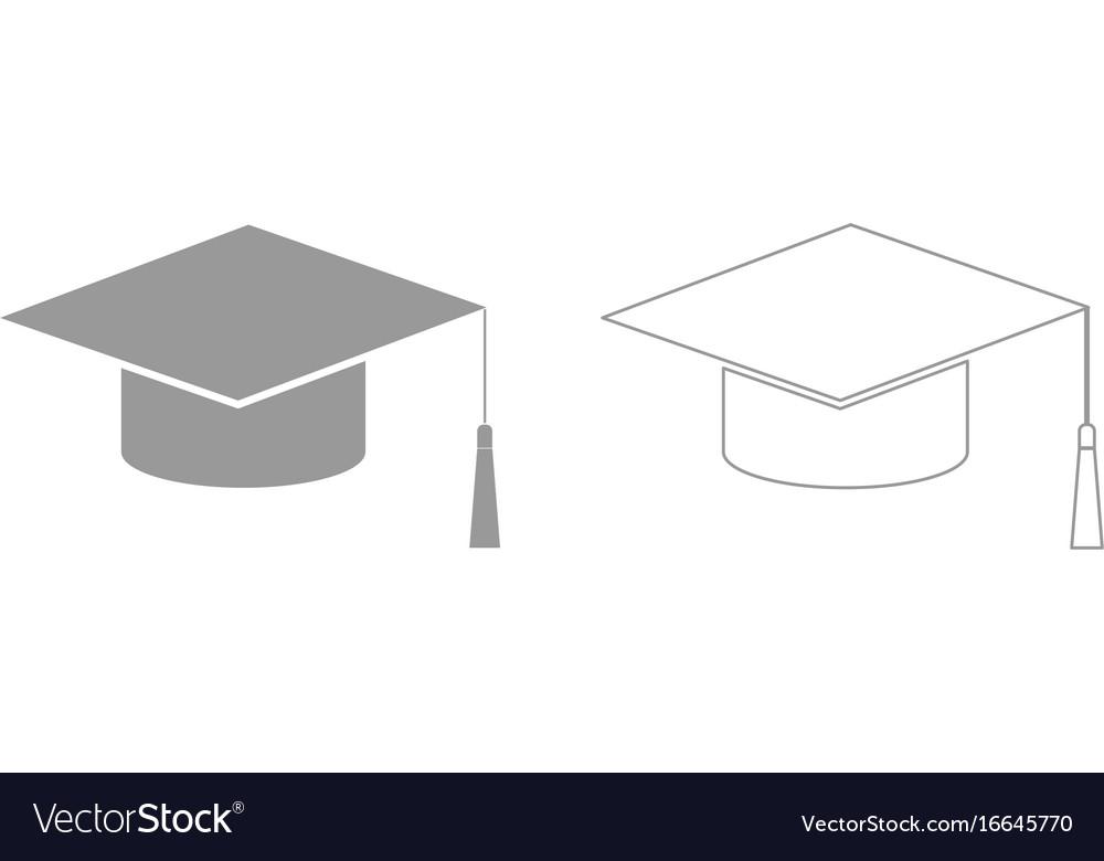 Graduation cap grey set icon