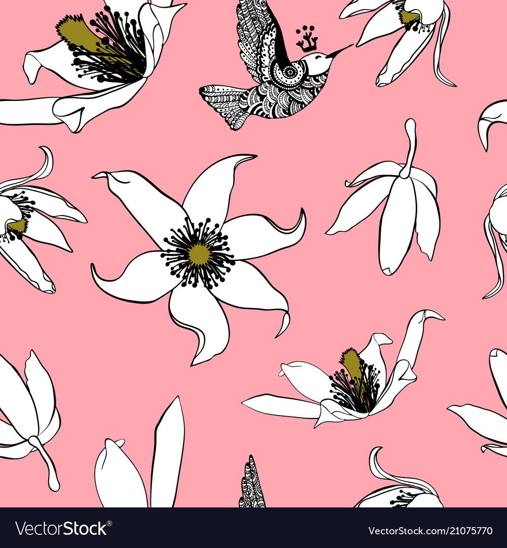 Hand drawn vintage floral seamless pattern