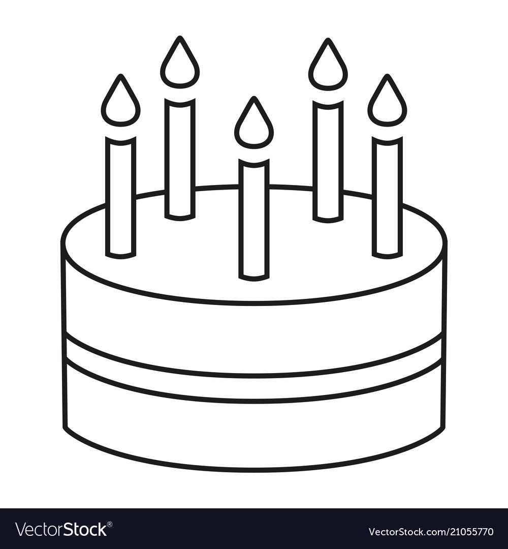 Prime Line Art Black And White Birthday Cake 5 Candles Vector Image Funny Birthday Cards Online Alyptdamsfinfo