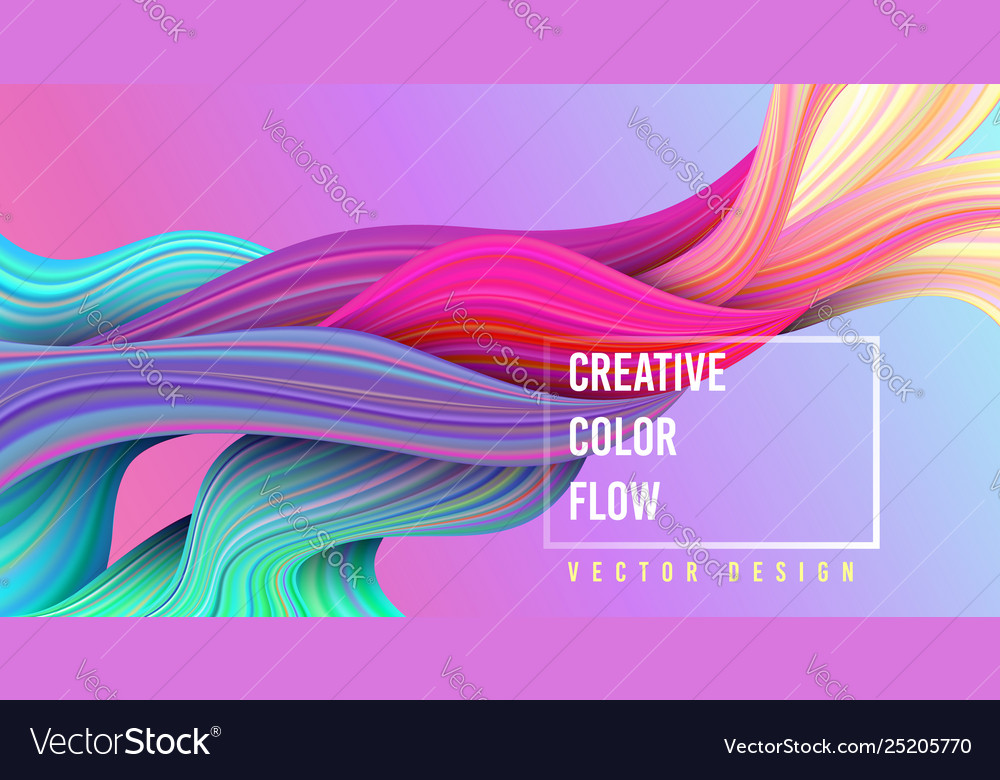 Modern colorful flow poster wave liquid shape on