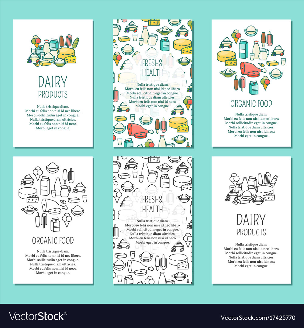 Set of farm vertical posters in flat linear