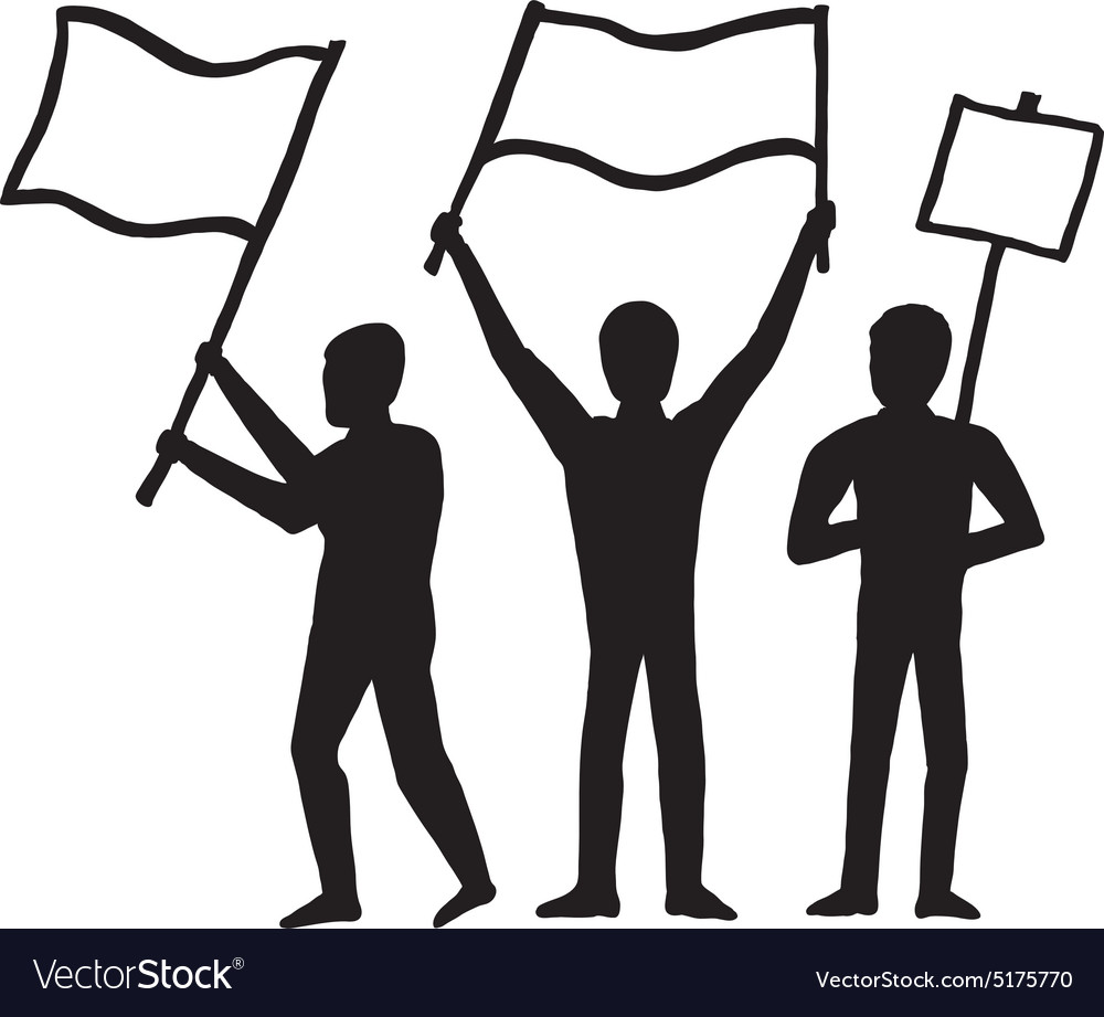 Three men with banners vector image