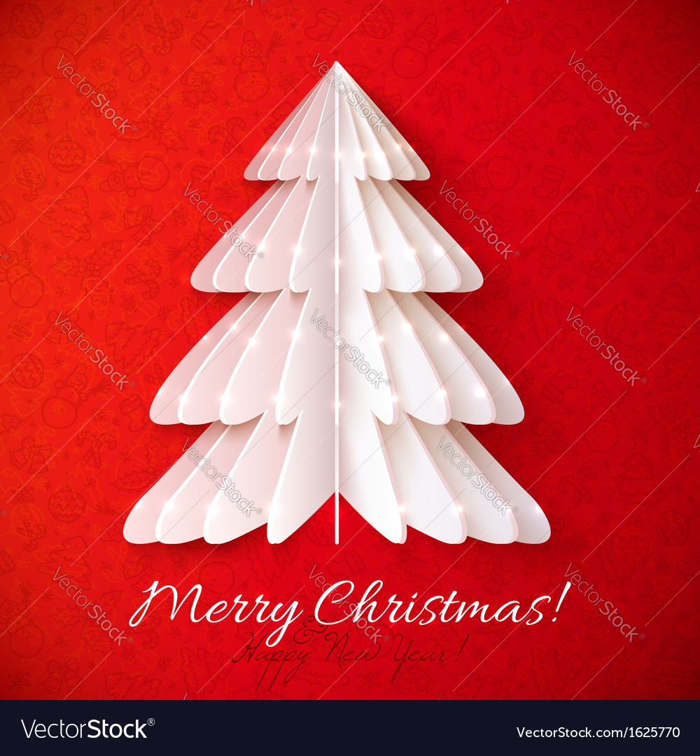 White origami Christmas tree greeting card
