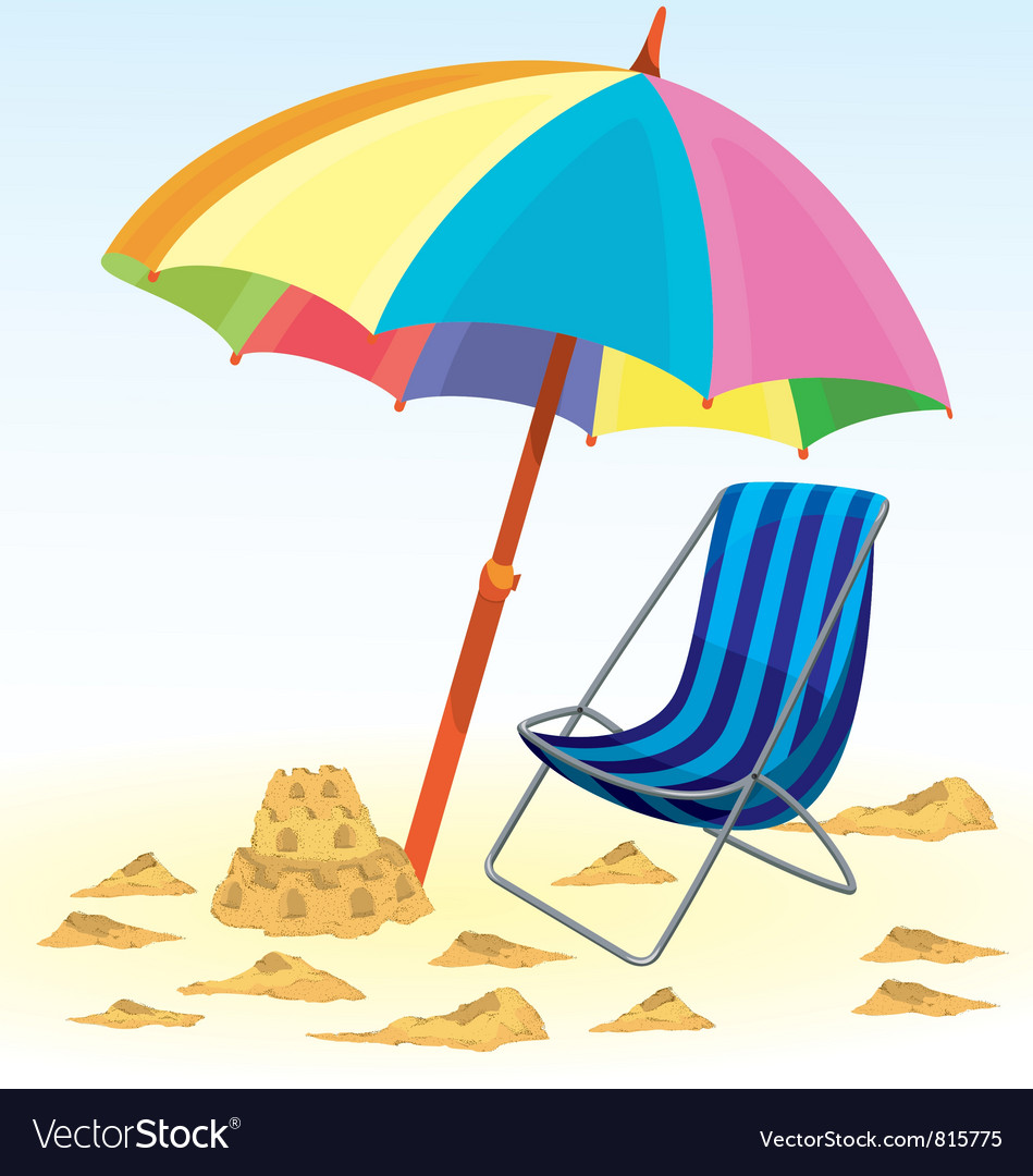 Beach Umbrella Chair Vector Image