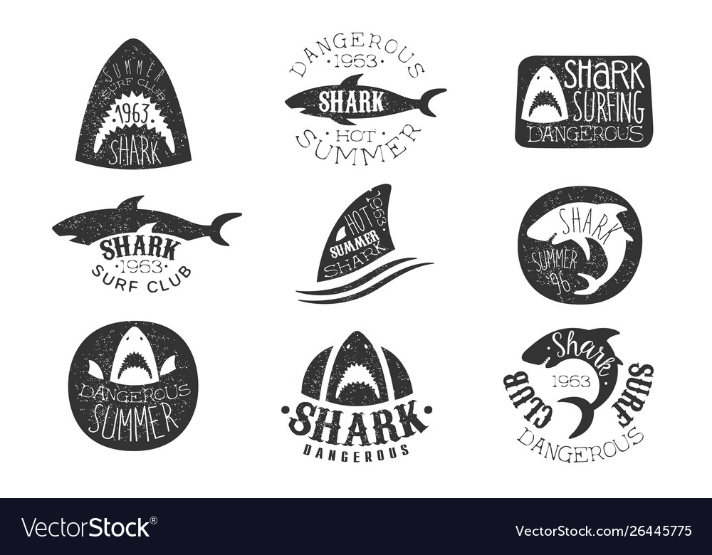 Dangerous shark surf club set of black and white