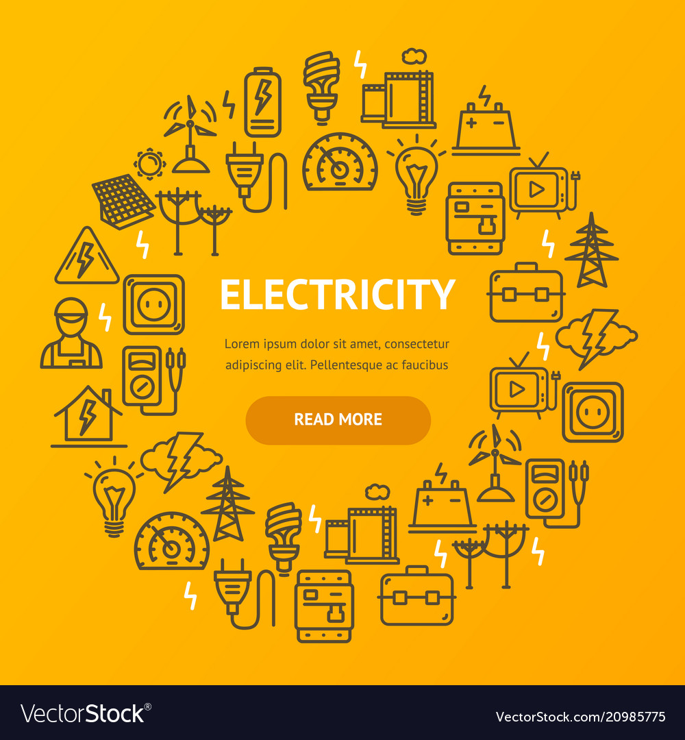 Electricity signs round design template thin line