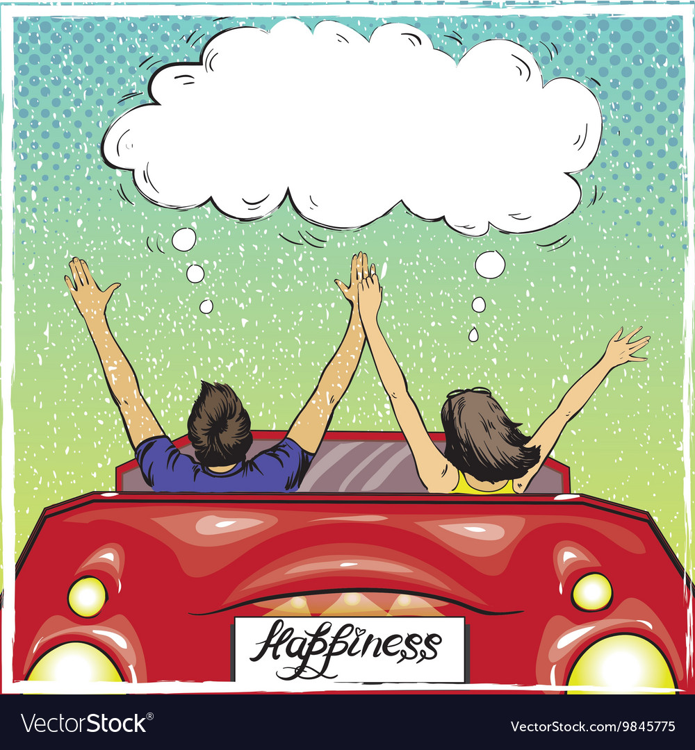 happy couple in a car driving away royalty free vector image