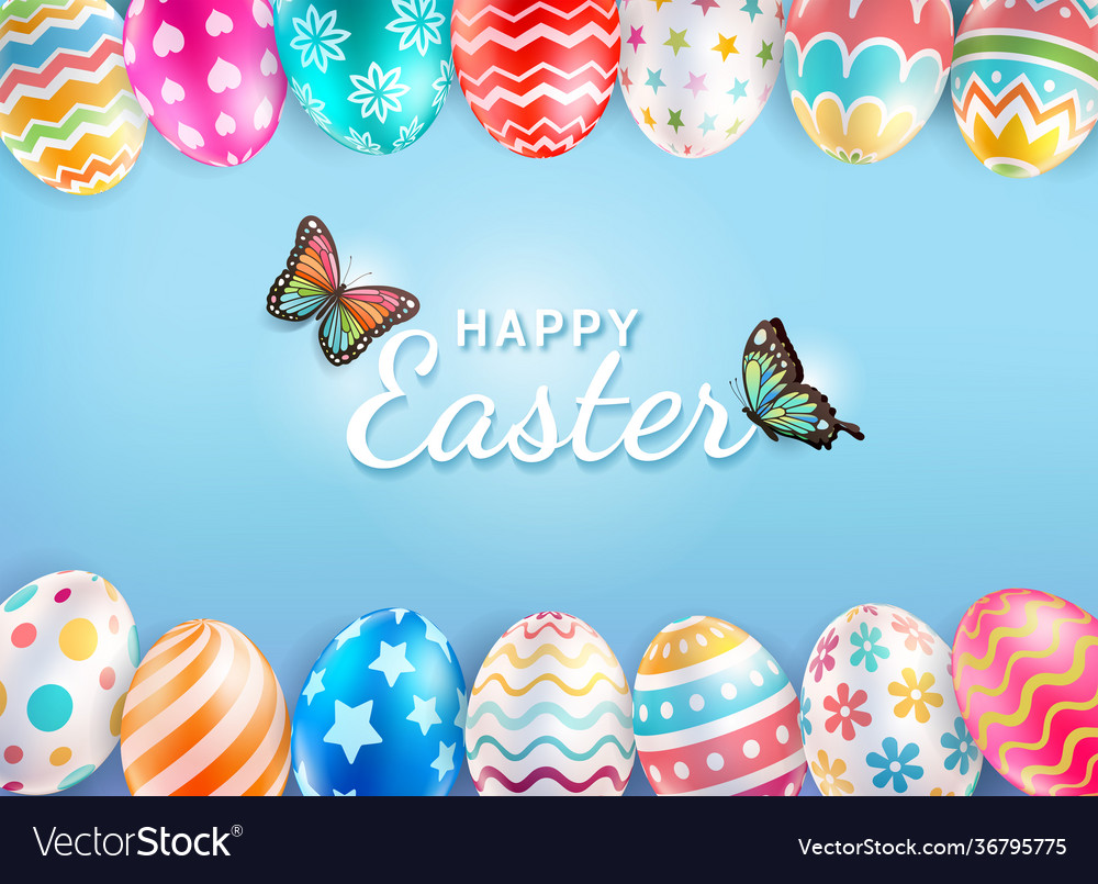 Happy easter day with butterfly background