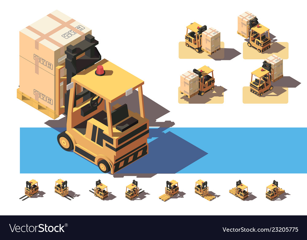 Isometric 3d forkit with transportation a box