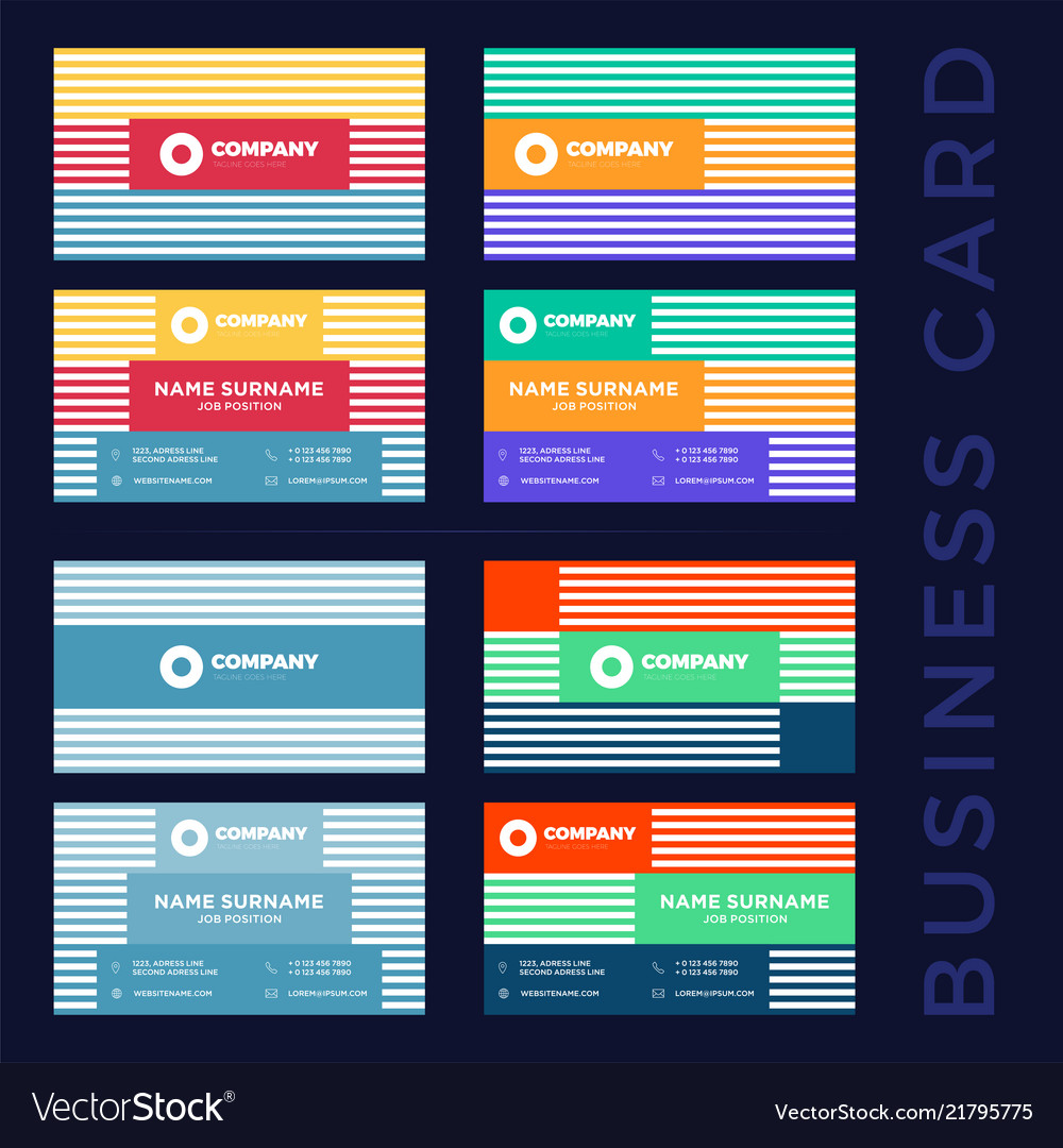 Large set colored abstract business card