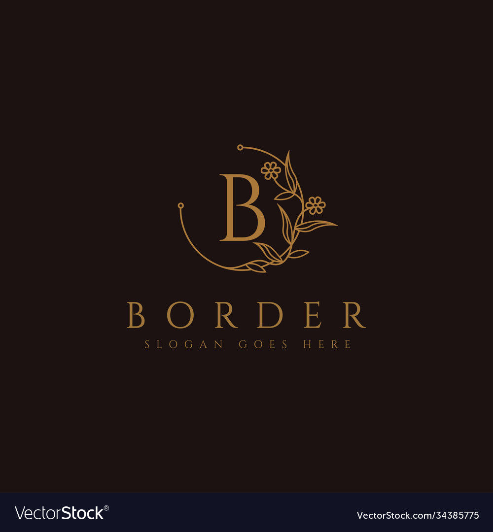 Letter b on floral border logo icon template