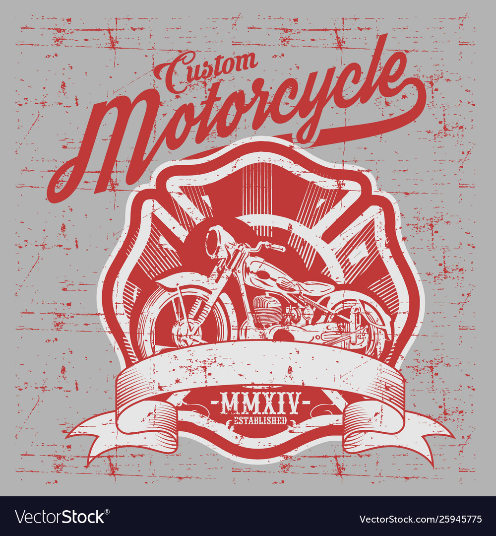 Motorcycle side view hand drawn classic chopper
