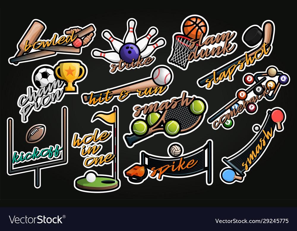 Sport sticker professional sporty typography