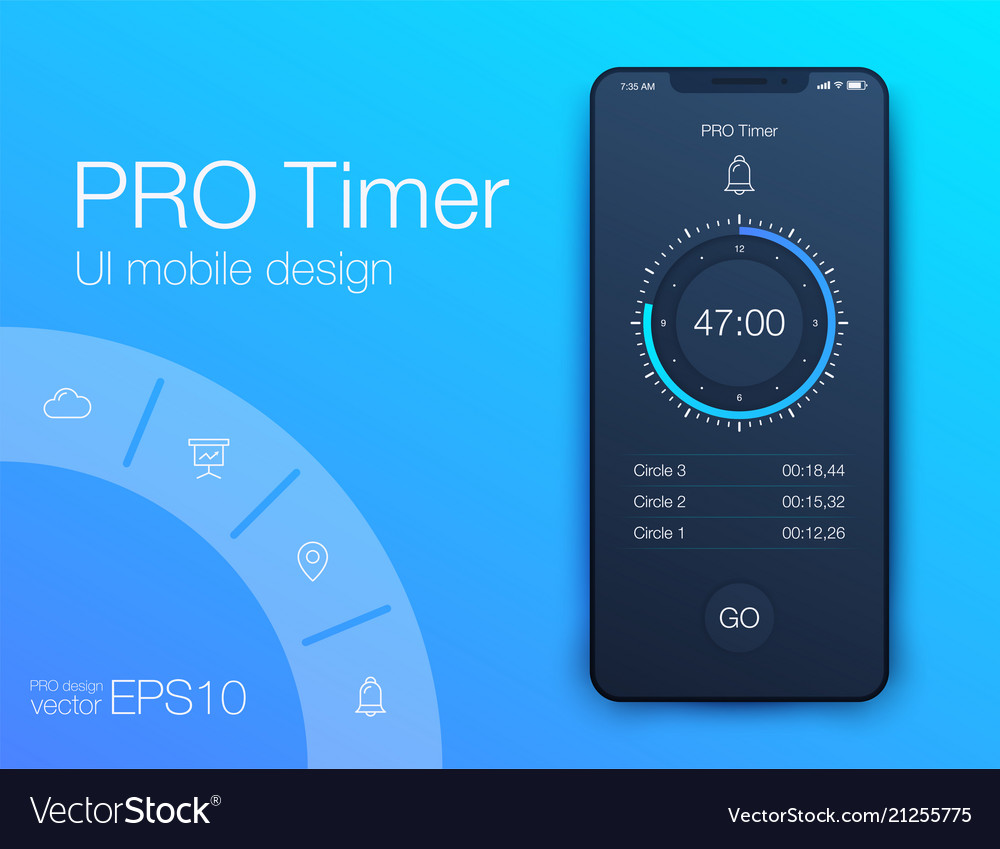 Timer application ui design concept