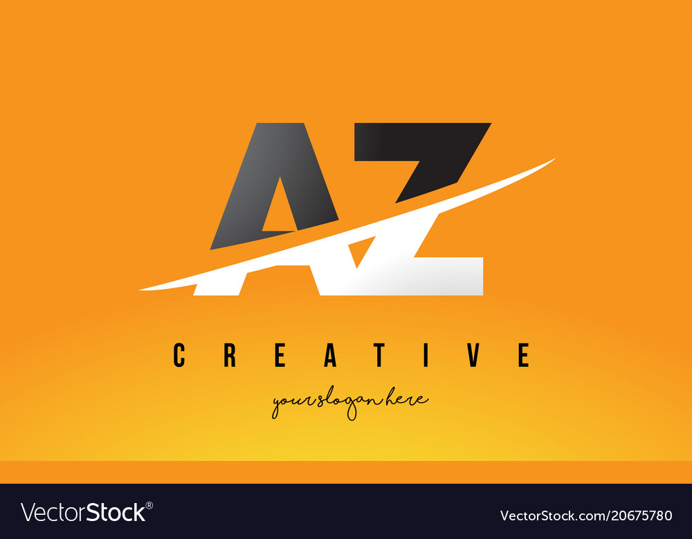 az a z letter modern logo design with yellow vector image