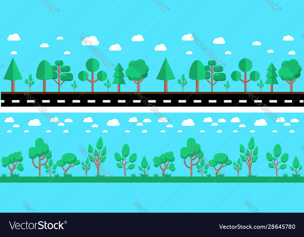 Cartoon city landscape with road and trees design