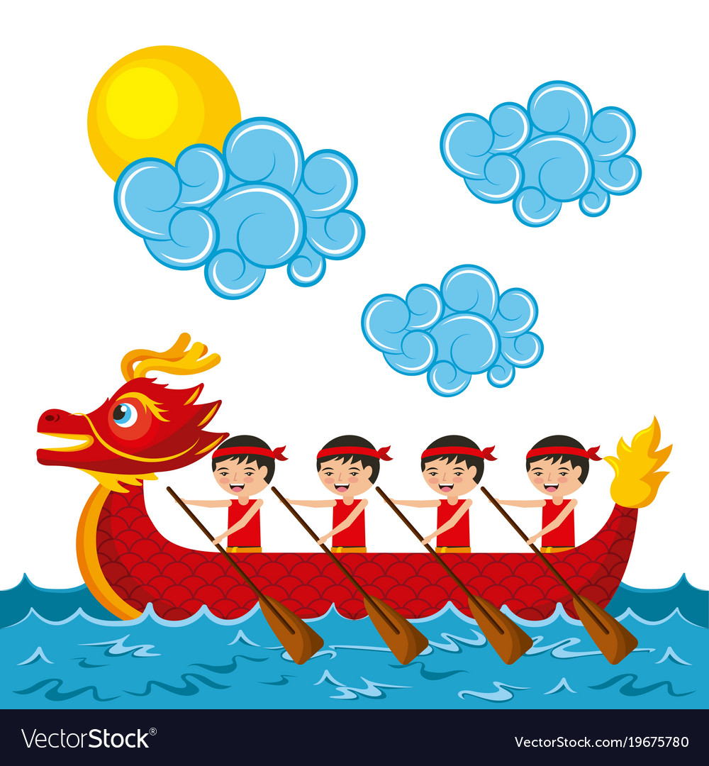 Chinese People Paddling Red Dragon Boat Vector Image