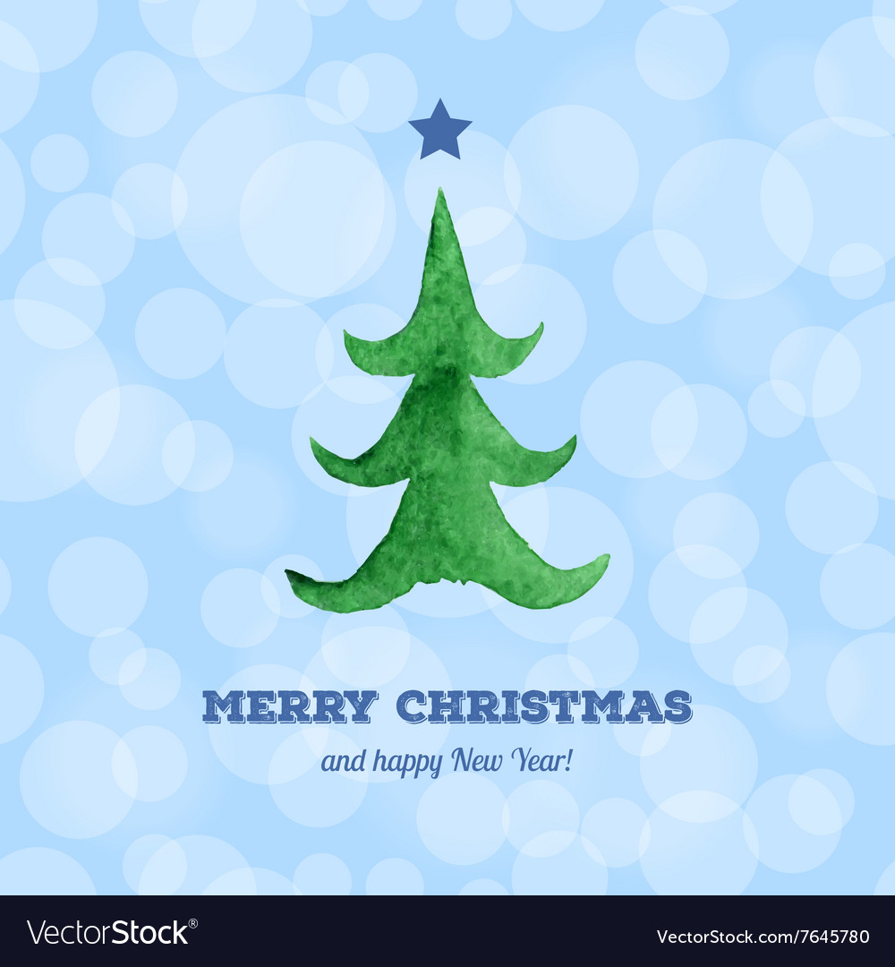 Christmas card with watercolor Christmas tree Vector Image