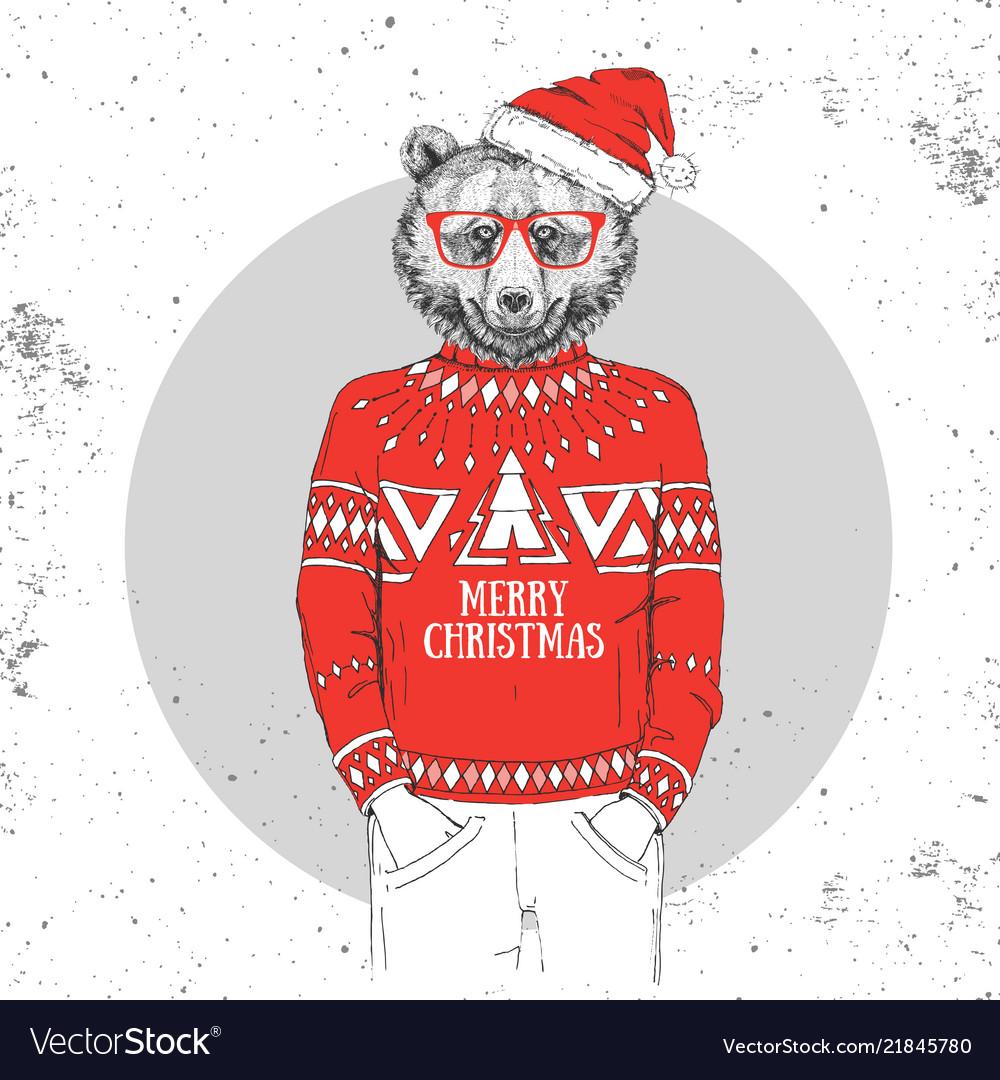 Christmas hipster fashion animal bear