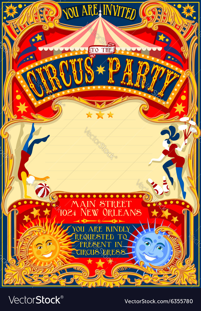 Circus 01 Invitation Vintage 2D vector image