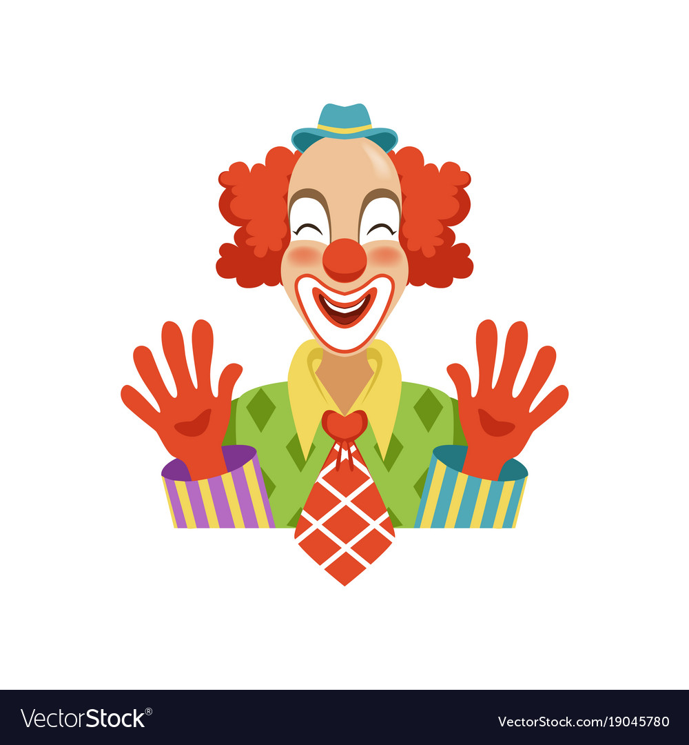 Funny circus clown in traditional makeup showing