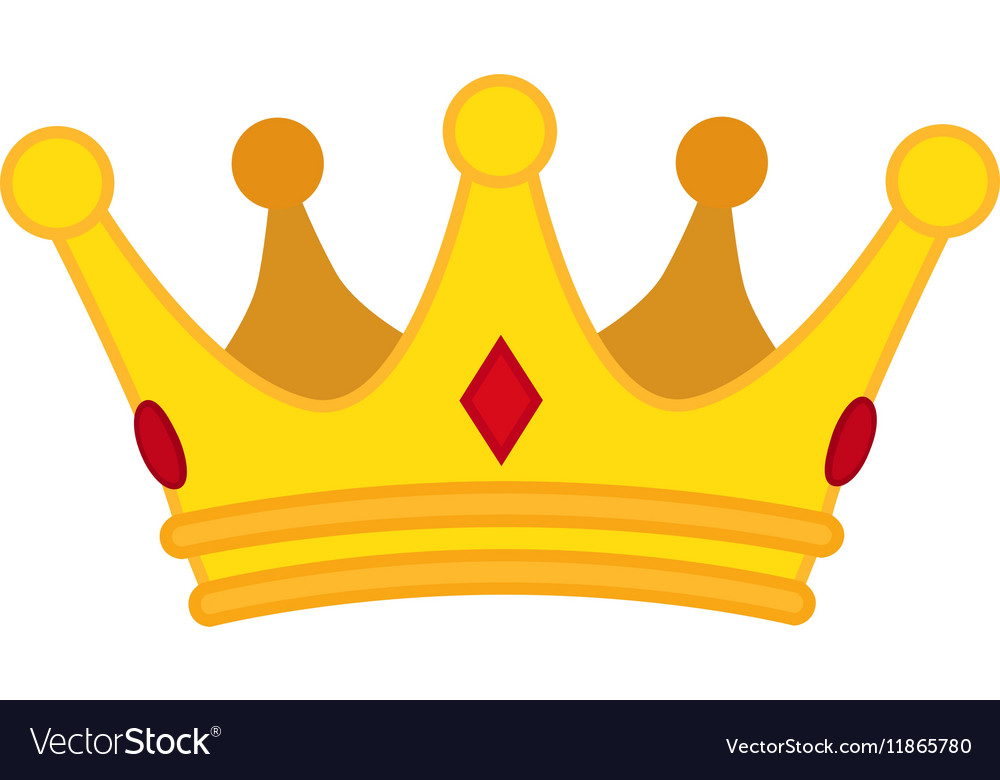 Golden Crown Cartoon Icon Jewelry For Vector Image