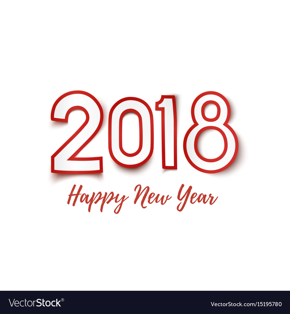 happy new year 2018 template for greeting card vector image