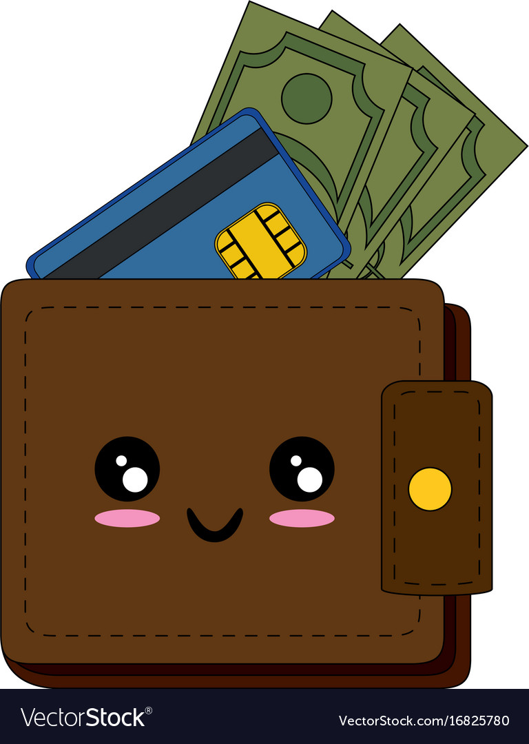kawaii wallet with money icon royalty free vector image vectorstock