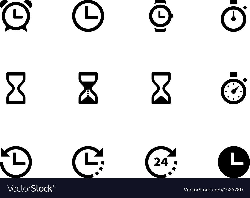 Time and Clock icons on white background