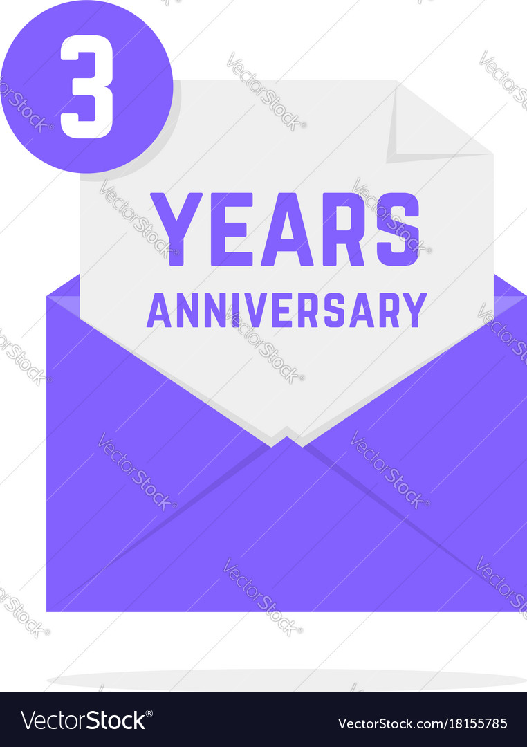 3 years anniversary icon in lilac letter