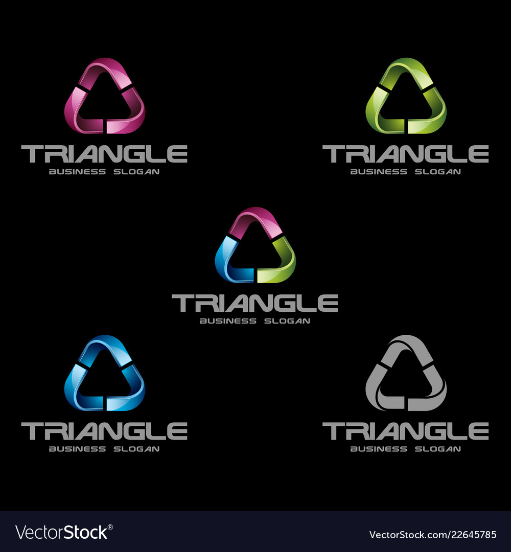 abstract 3d triangle logo template royalty free vector image