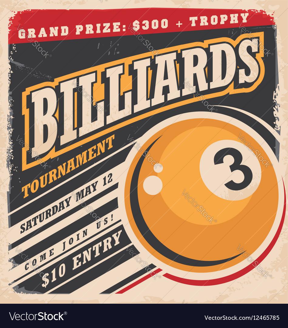 Billiards retro poster design layout vector image