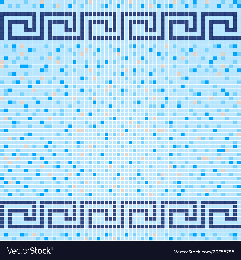 Blue and beige ceramic tile mosaic pattern Vector Image