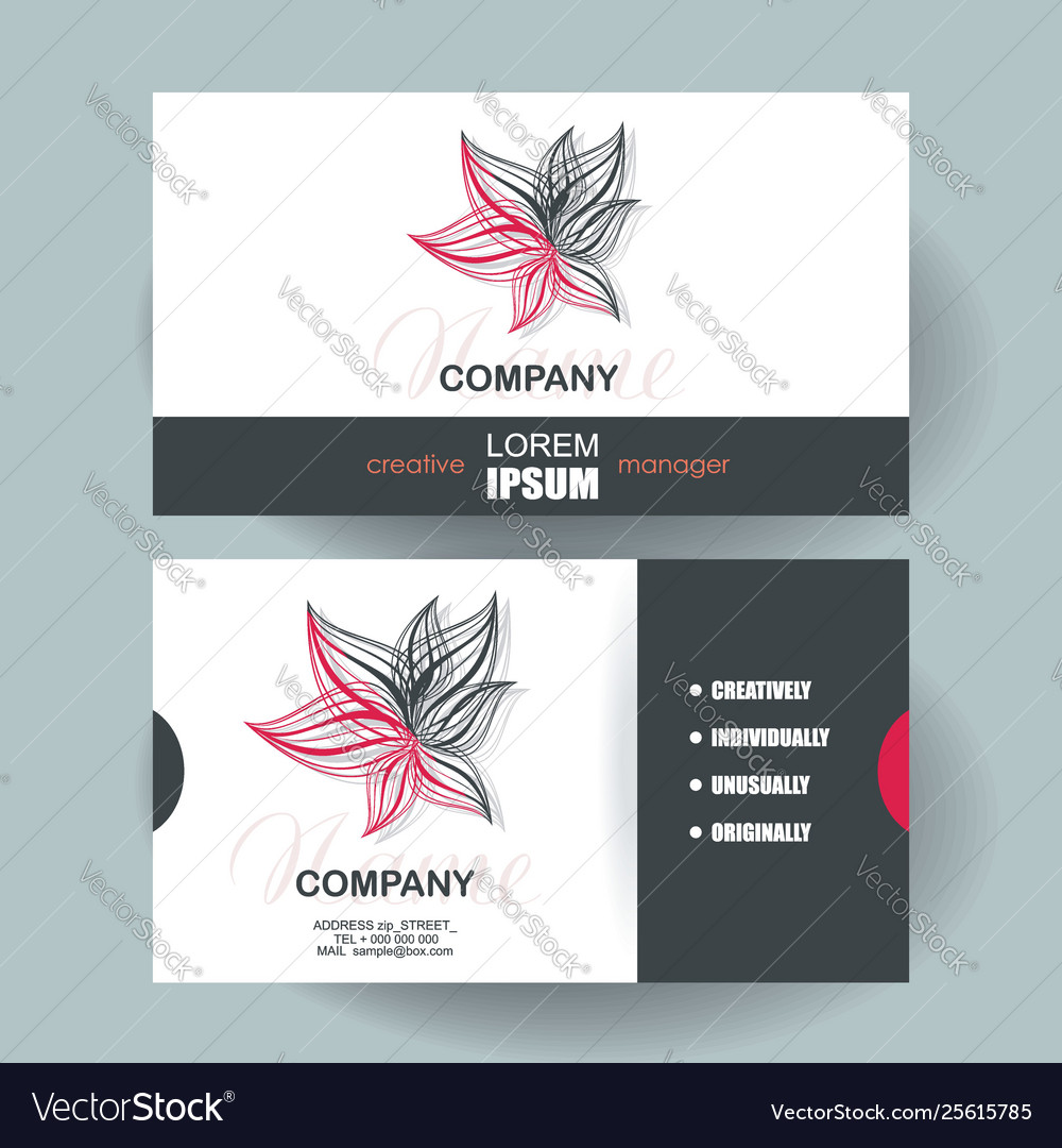 Business cards design with abstract red flower