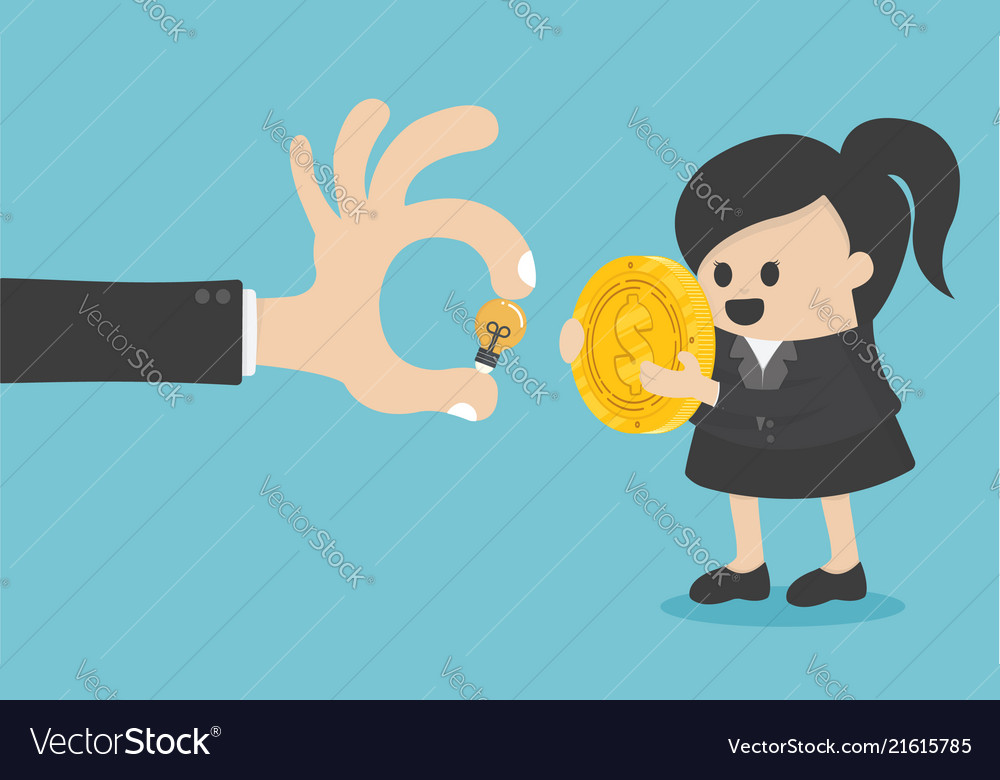 Concept business women are exchanging money with