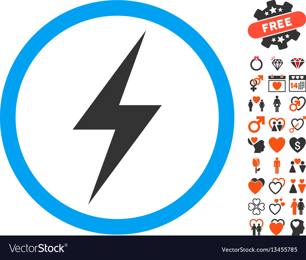 Electricity Symbol Icon With Valentine Bonus Vector Image Electrical Set Isolated On A White Background Stock