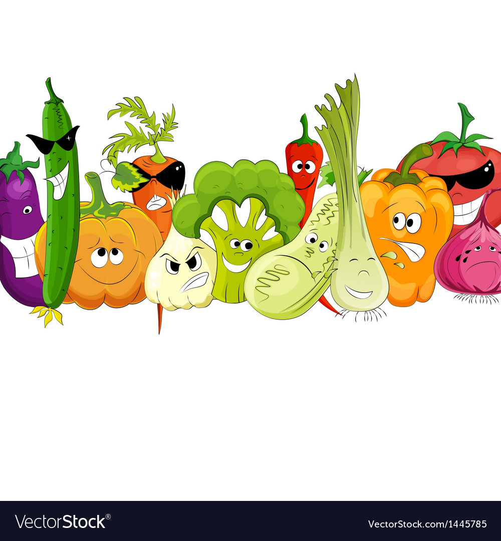 Funny vegetable and spice cartoon on white