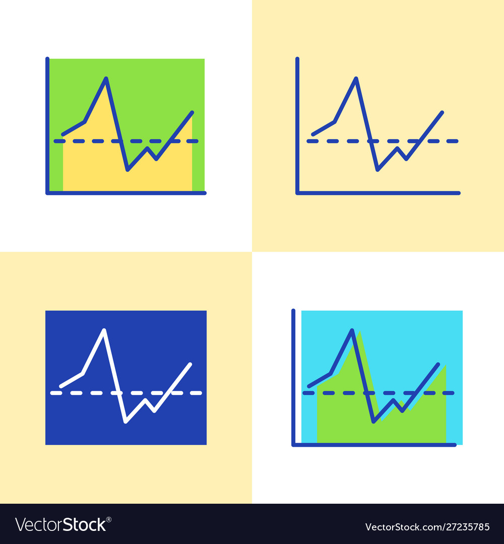 Invest report graph icon set in flat and line