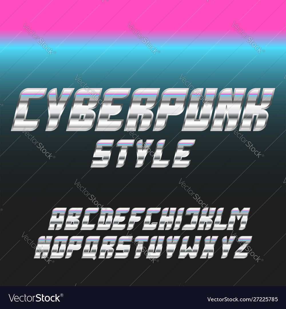 Italic bold font stainless glowing blue and pink vector