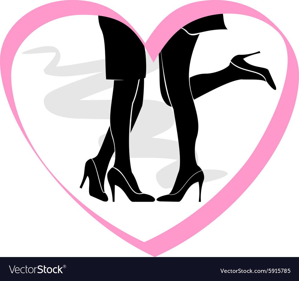 Lesbian kissing silhouette