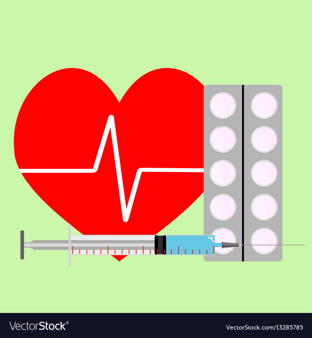 Medicine for stimulation of heart vector image