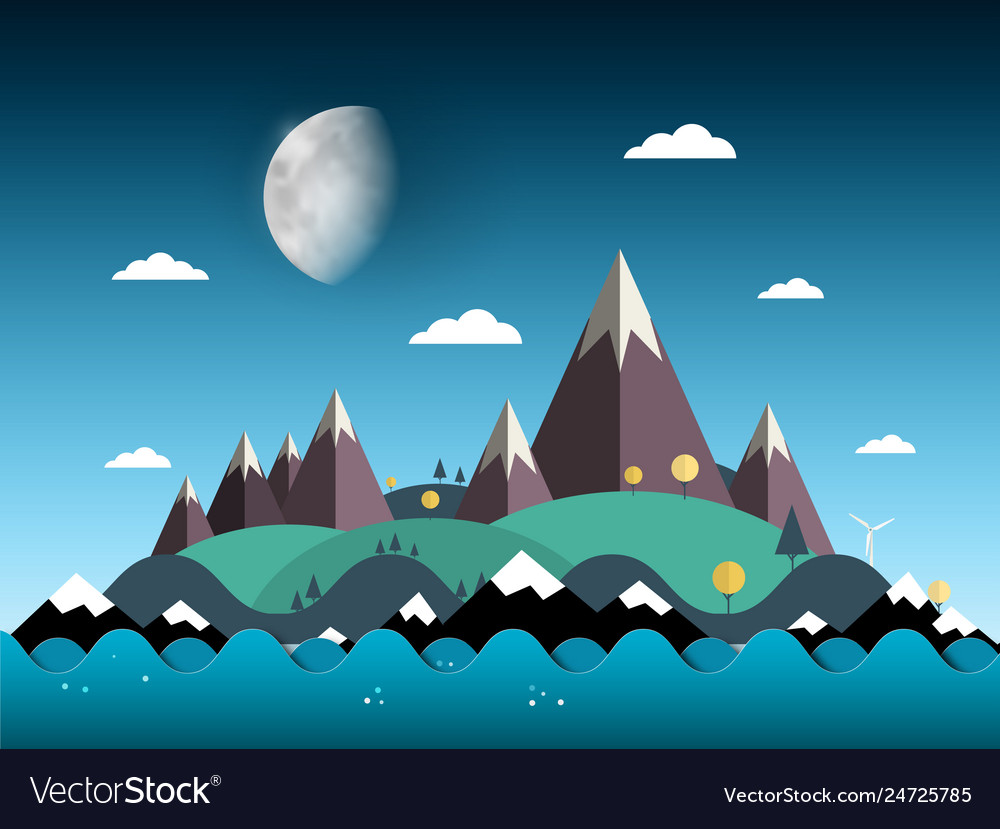 Mountains and hills on island sea with moon on