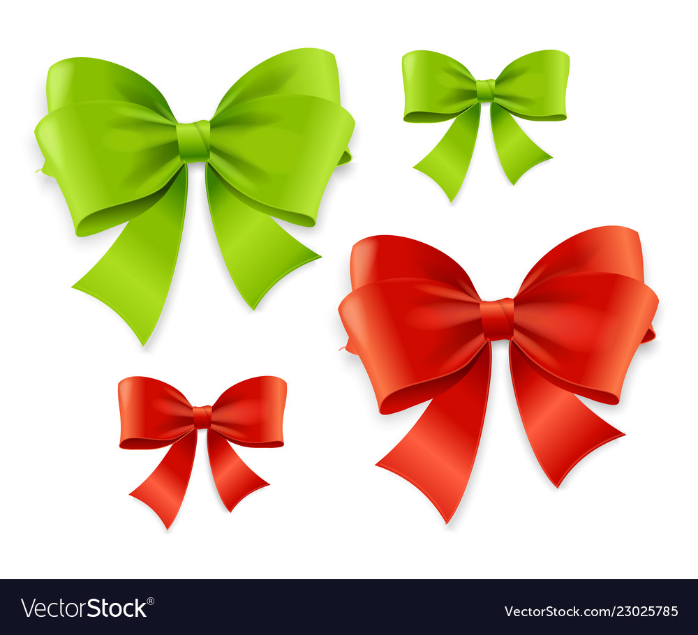 Realistic 3d detailed green and red bow set