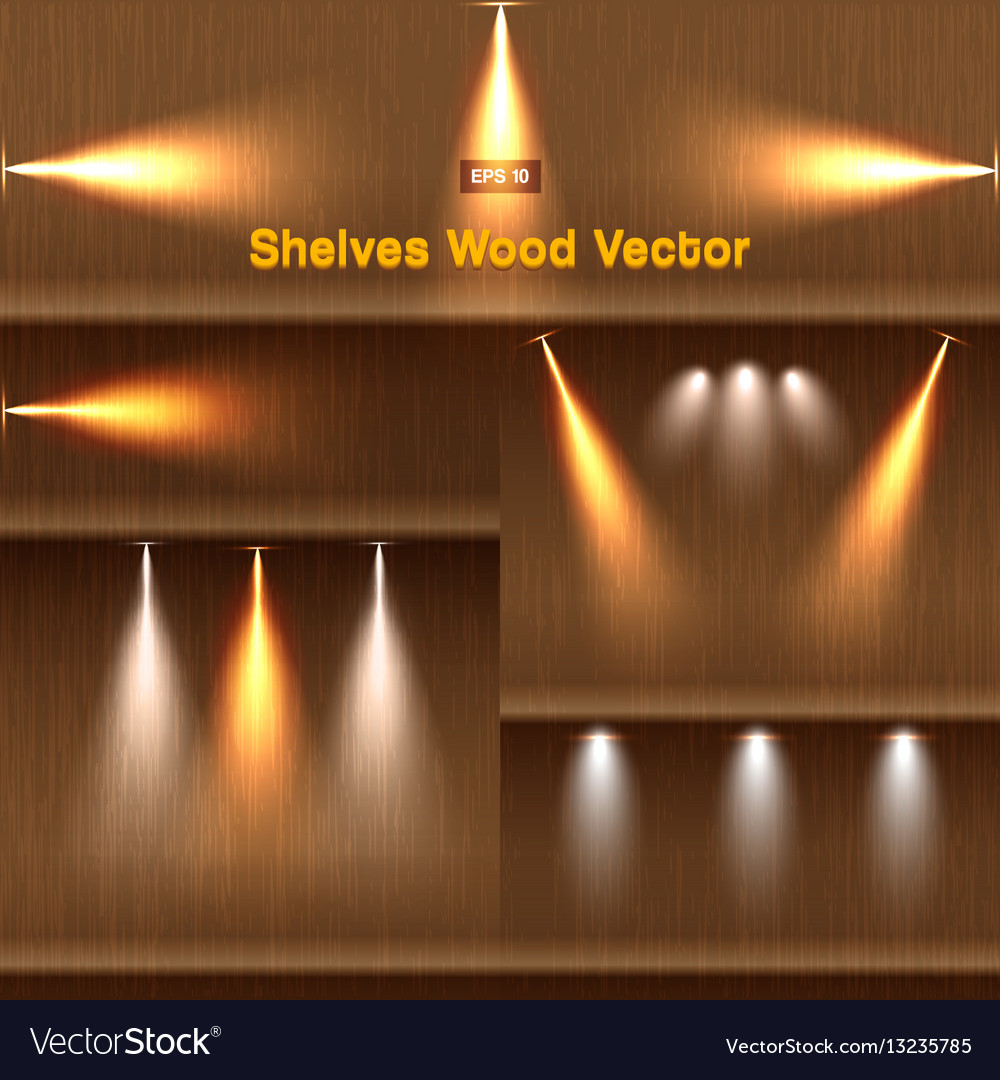Shelves wood background with lighting
