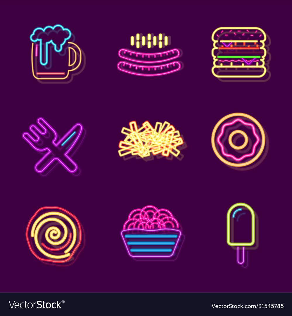 Streetfood fast food drink neon sign fastfood