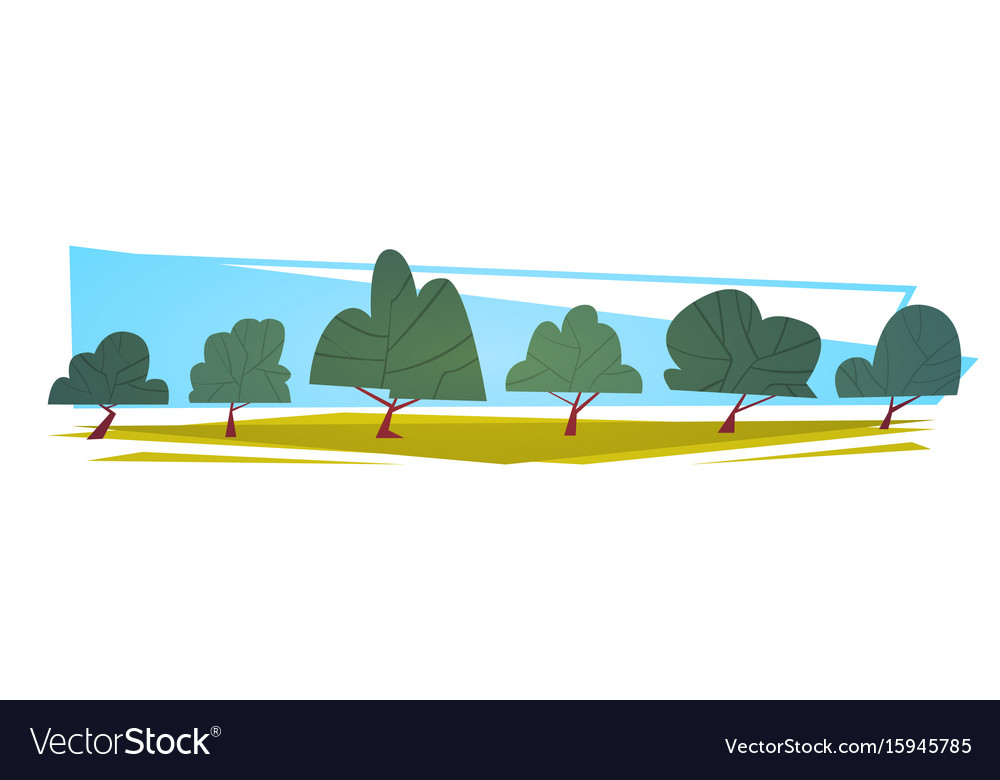 Summer landscape green trees cartoon horizontal vector image